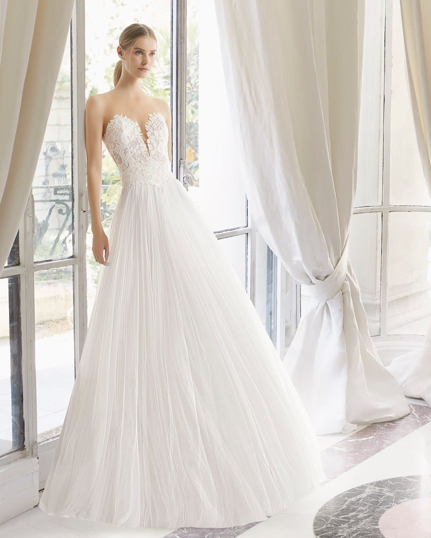 Wedding Dress With Tulle Overskirt