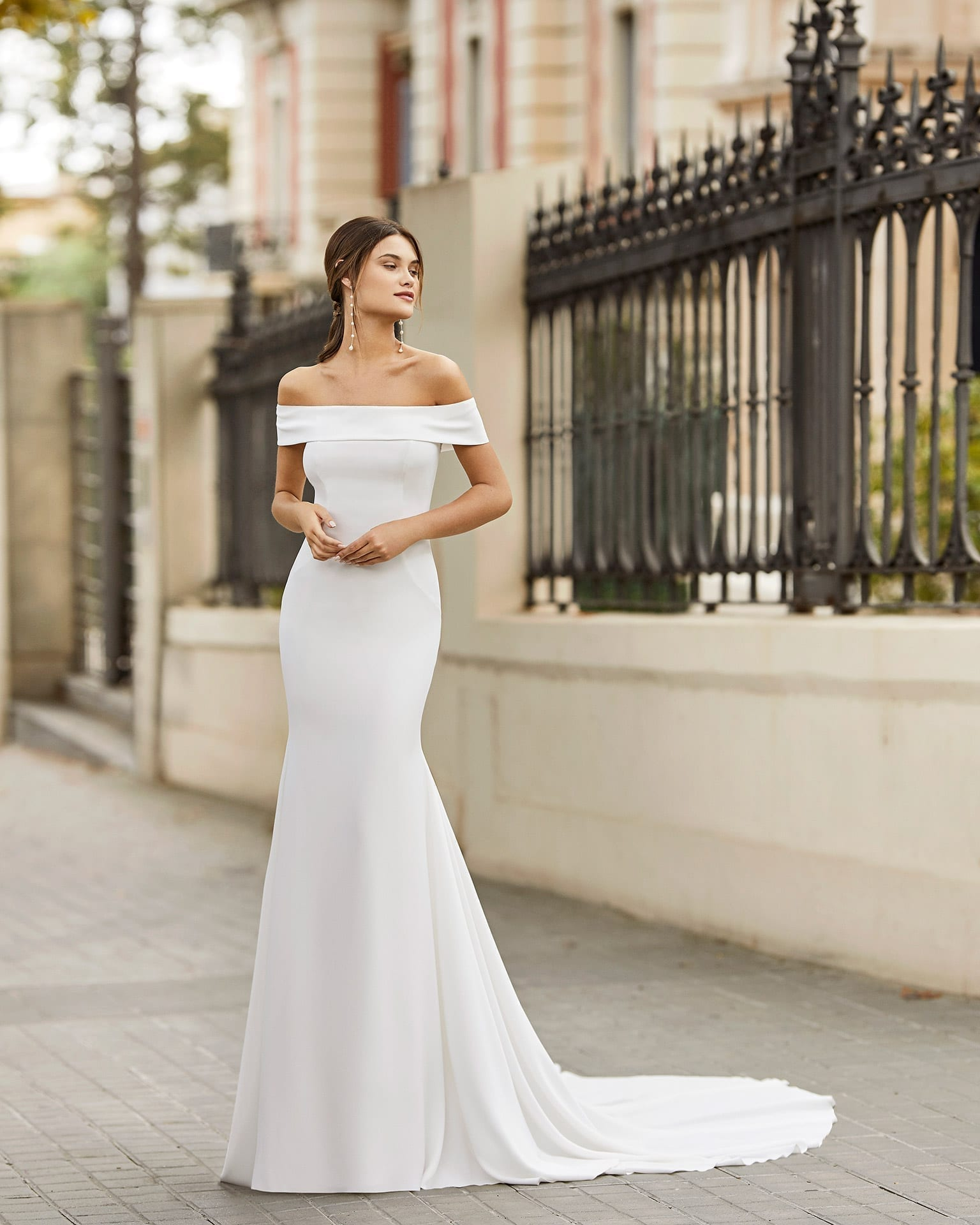 TAILAK Sleek Crepe Wedding Dress with Off the Shoulder Neckline