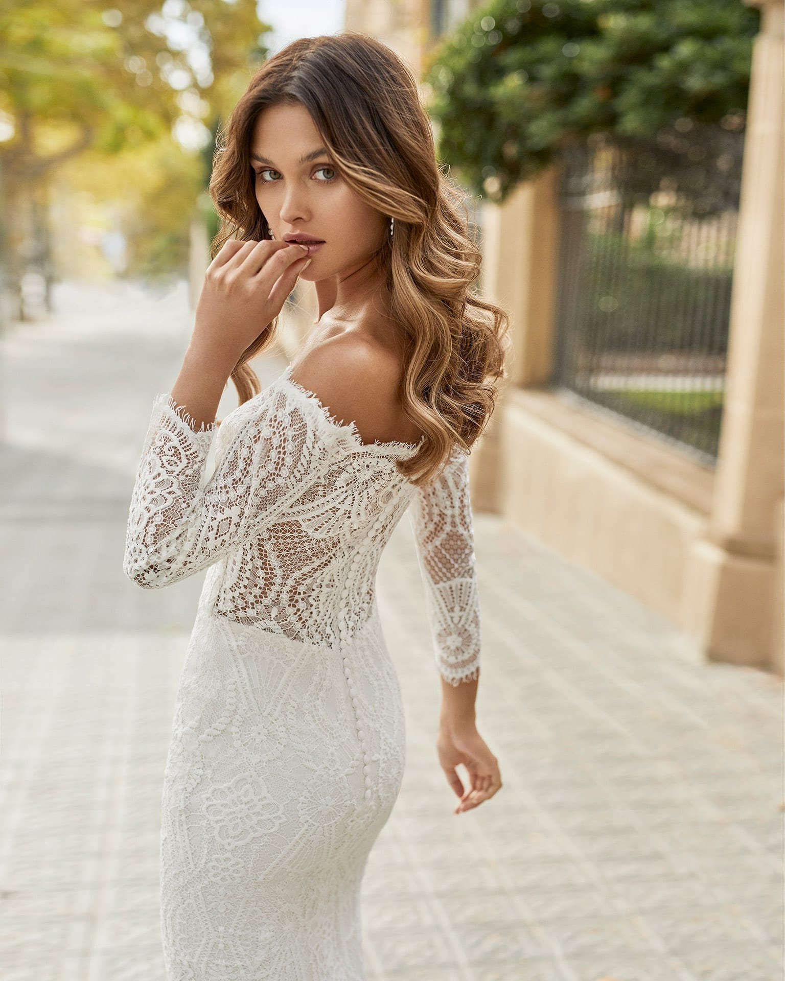 TAURO Rosa Clara Lace Wedding Dress with Off the Shoulder Sleeves