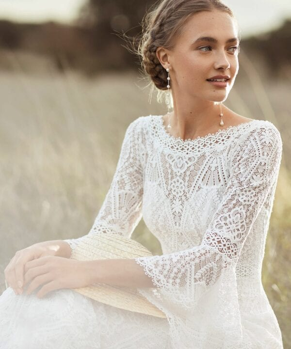 AZALEA Rosa Clara Boho Lace Wedding Dress with Bell Sleeves