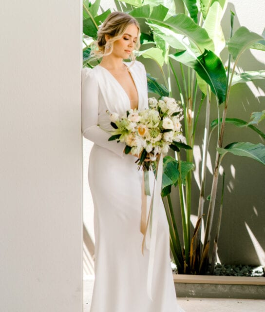 ADRIENNE-Pronovias-Modern-Crepe-Wedding-Gown-Sleeves-White-Lily-Couture-Brisbane (3)