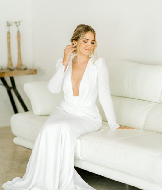 ADRIENNE-Pronovias-Modern-Crepe-Wedding-Gown-Sleeves-White-Lily-Couture-Brisbane (4)