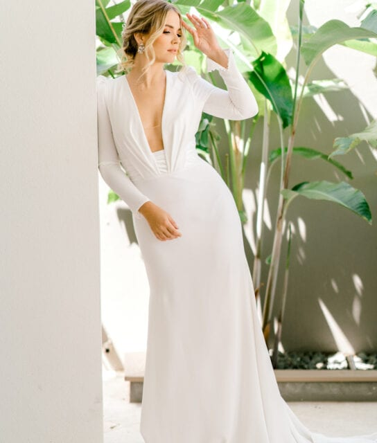ADRIENNE-Pronovias-Modern-Crepe-Wedding-Gown-Sleeves-White-Lily-Couture-Brisbane (7)