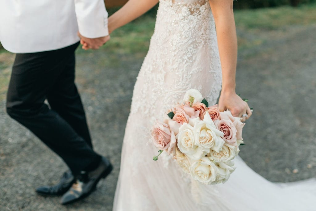 beaded wedding dress and flowers