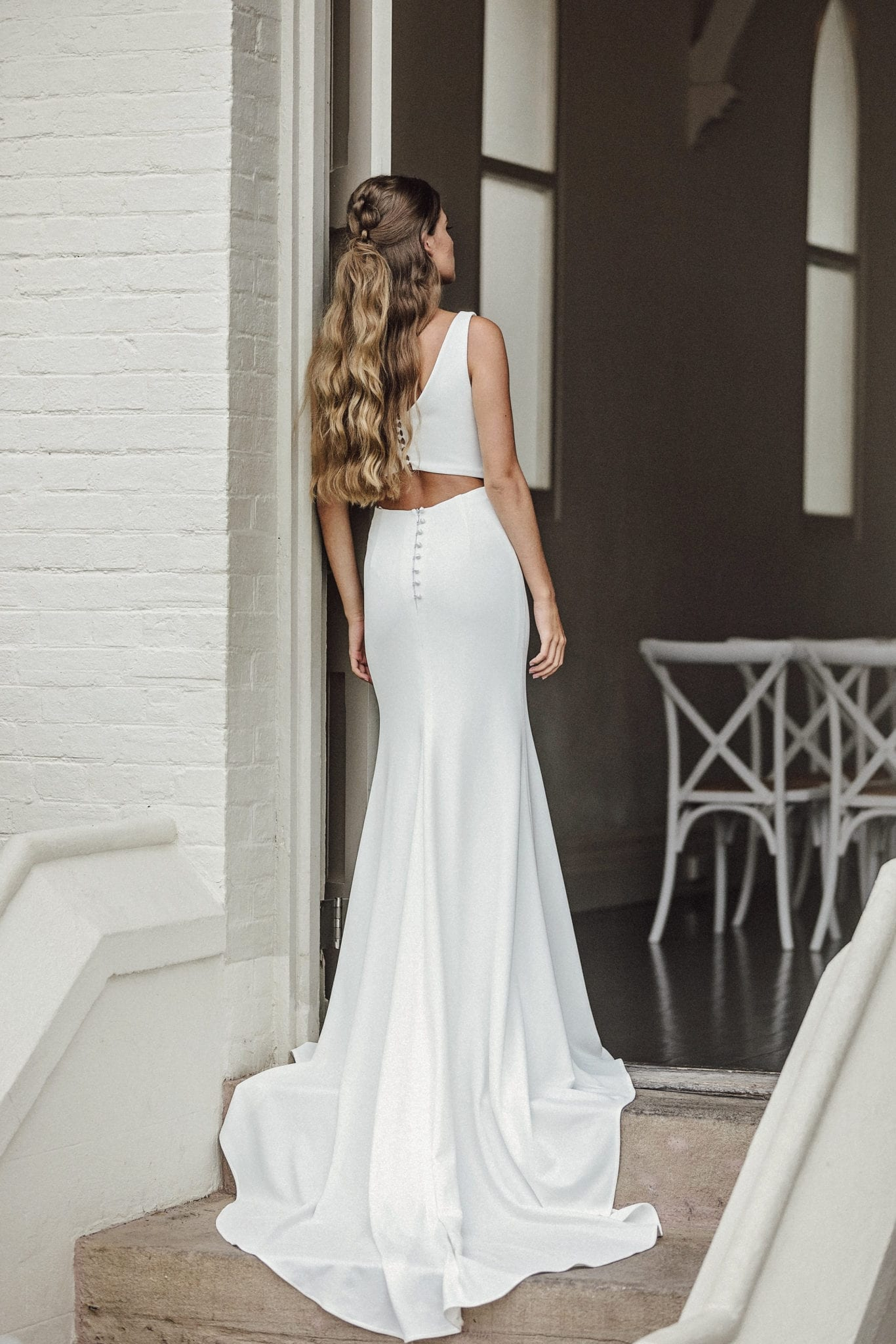 Sasha-Erin-Clare-Bridal-High-Neck-Crepe-Wedding-Dress-Keyhole-Back