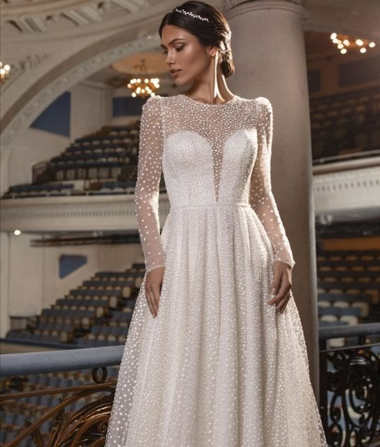 KENT-Pronovias-Sparkle-Beaded-A-Line-Long-Sleeves-Wedding-Gown