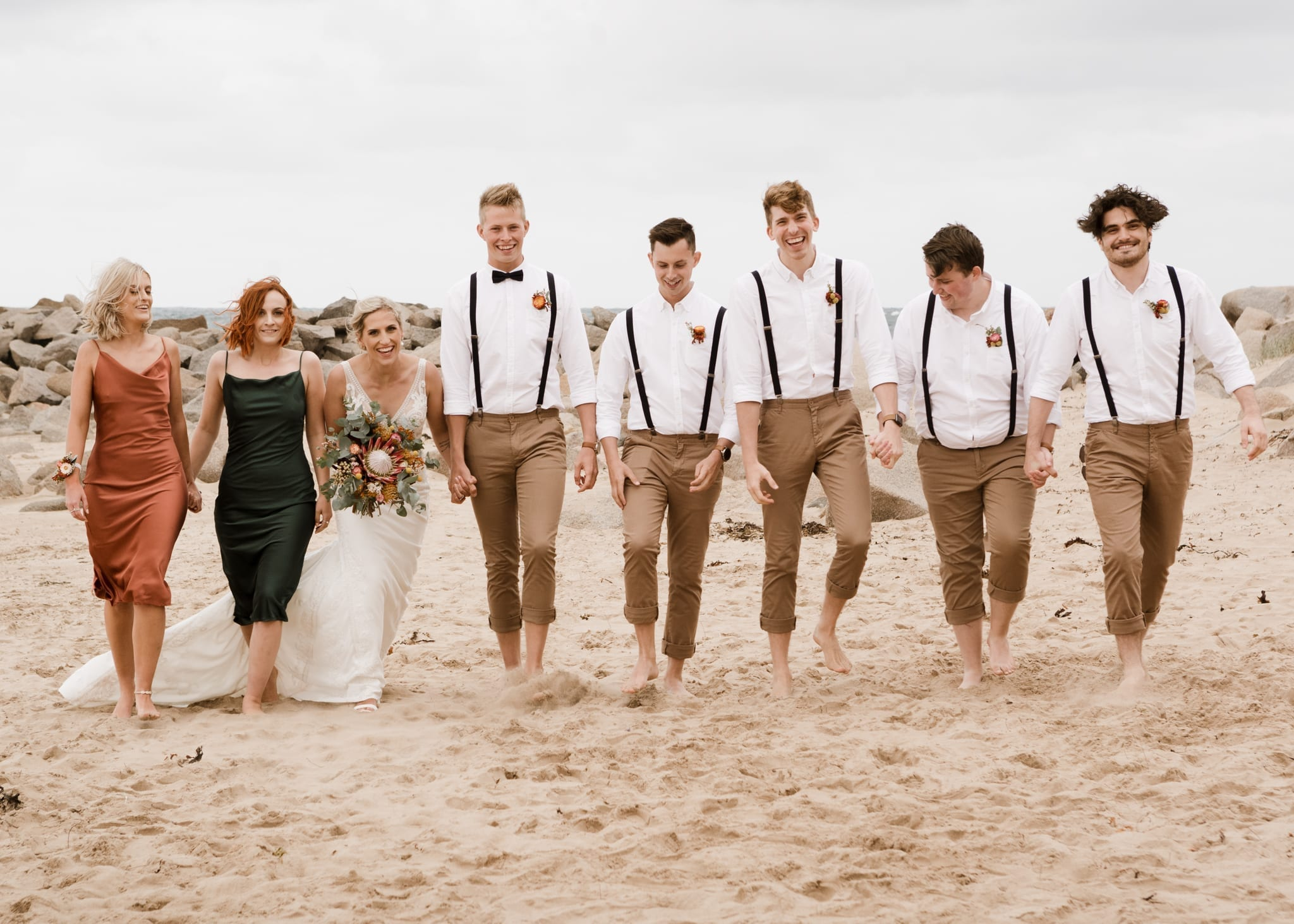 The wedding party at Ladies Beach