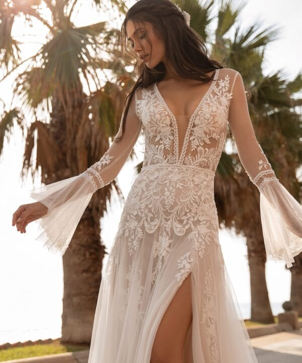 TYSON-Pronovias-Boho-Indie-Tulle-Crepe-Wedding-Dress-Bell-Sleeves