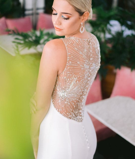 Silver beaded backless wedding dress