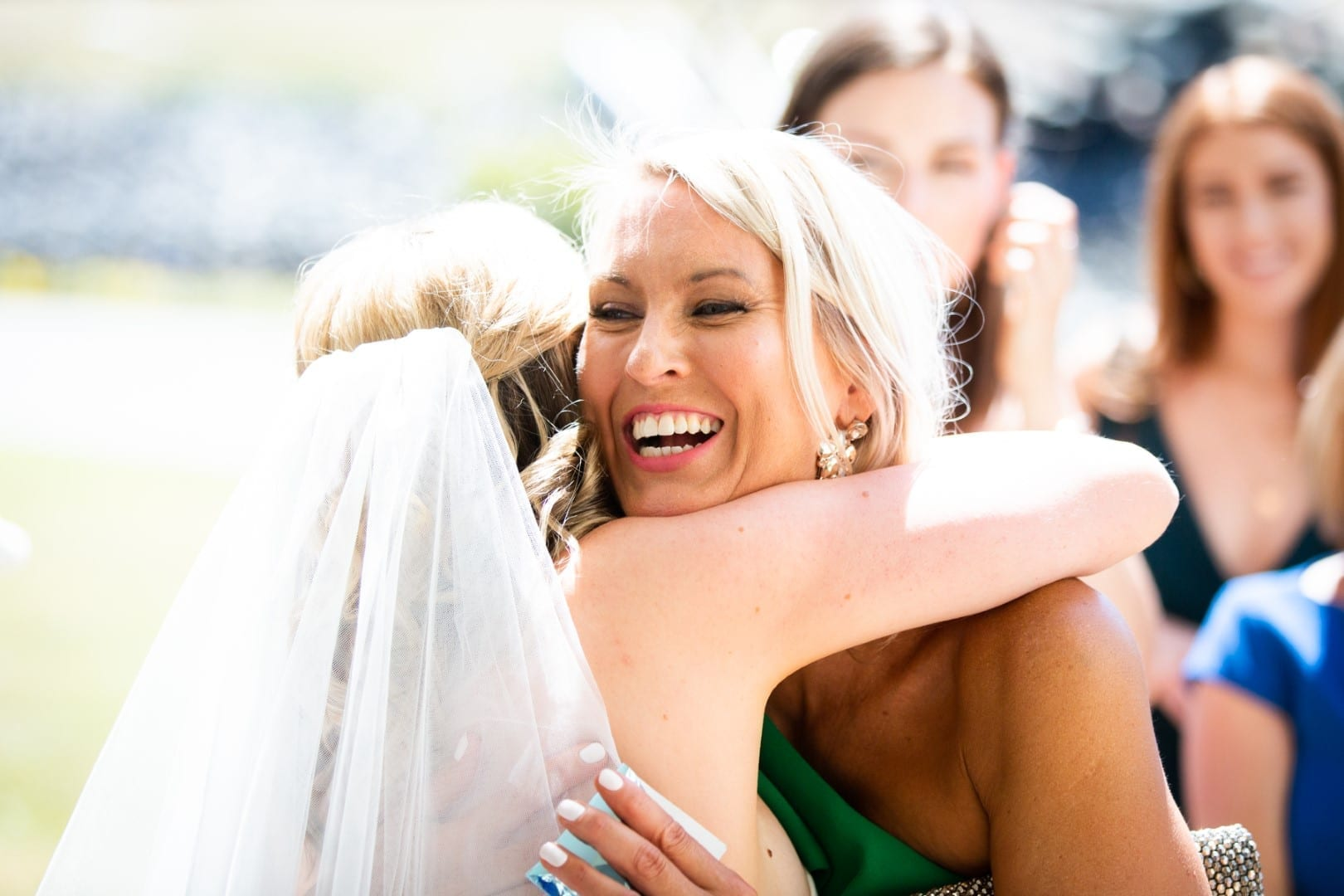 Bride celebrating with co-worker Jodie.