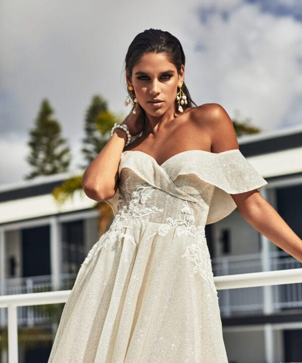 Off the shoulder wedding dress at Brisbane Bridal shop