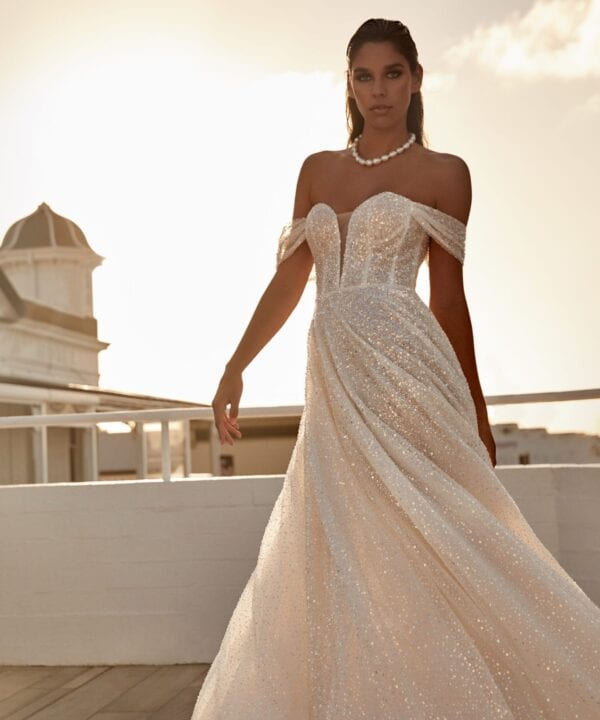 Off shoulder wedding gown Brisbane