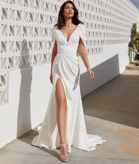 Abby Pronovias 2021 Crepe Ruched Wedding Dress with Split