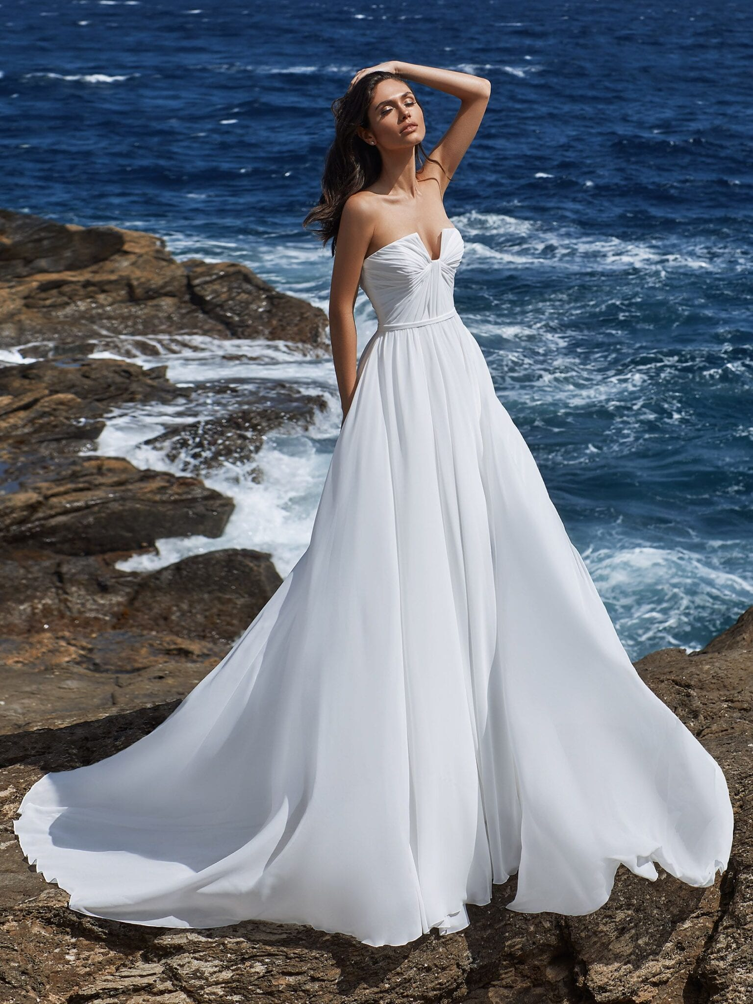 Andrea Grecian A Line Wedding Dress with Pleated Bodice