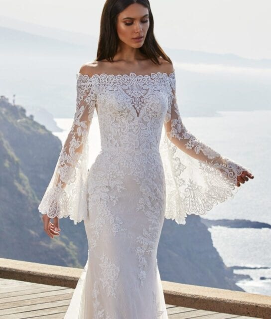Cecil Pronovias 2021 Lace Off the Shoulder Wedding Dress with Bell Sleeves