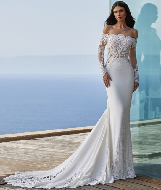Della Pronovias 2021 Off the Shoulder Crepe Wedding Dress with Lace Sleeves