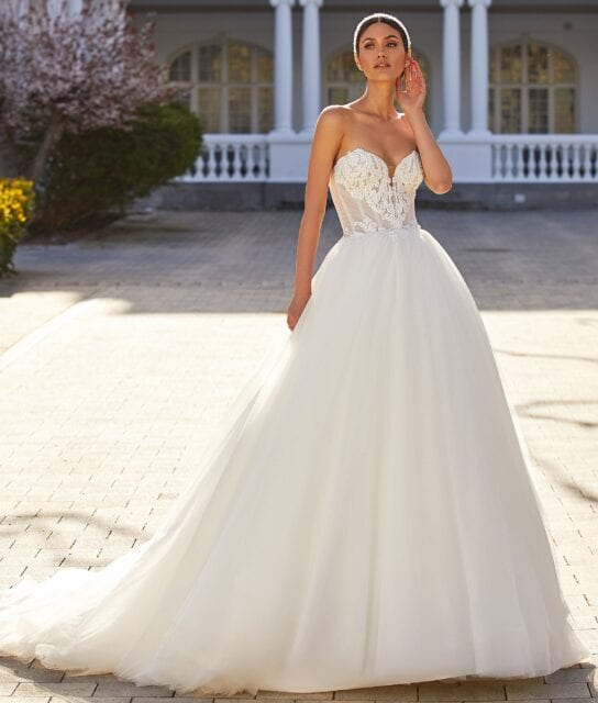 Donna Pronovias 2021 Tulle Ball Gown with Beaded Corset Bodice