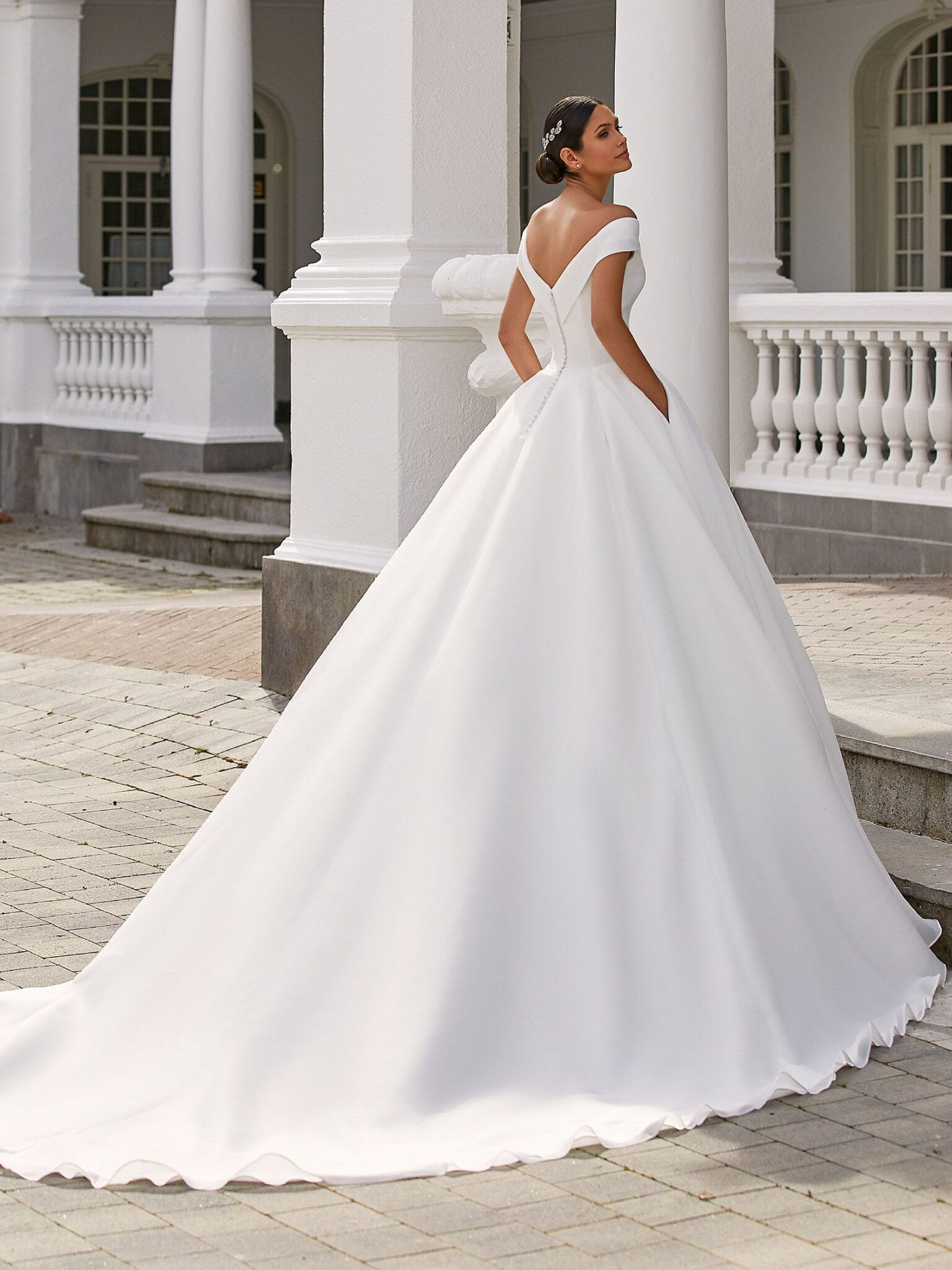 Farrah Pronovias 2021 Ballgown Wedding Dress with Off the Shoulder Neckline
