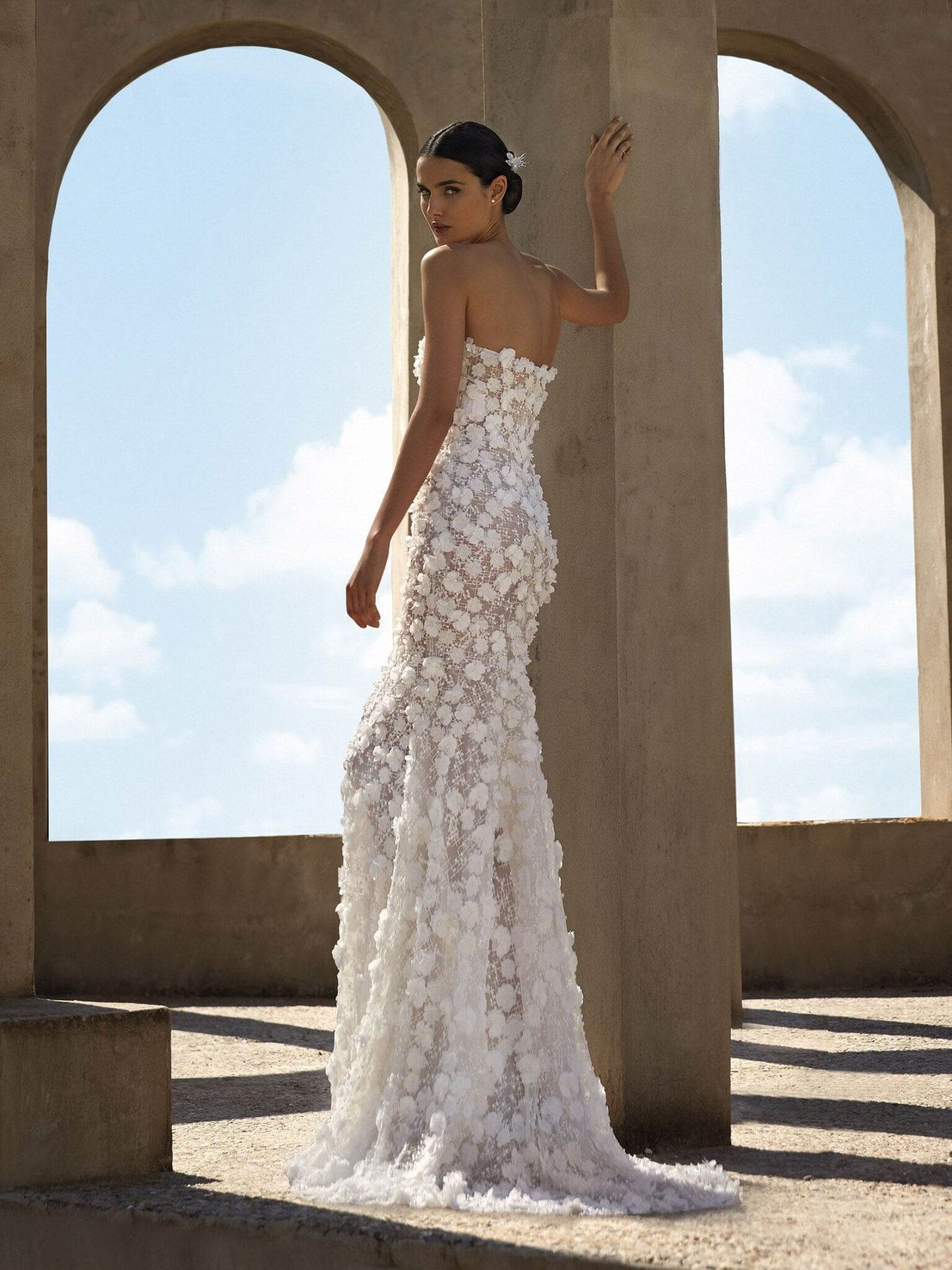 Nadine Pronovias Atelier 2021 3D embellished Mermaid Wedding Dress with Off the Shoulder Ruffle Sleeves