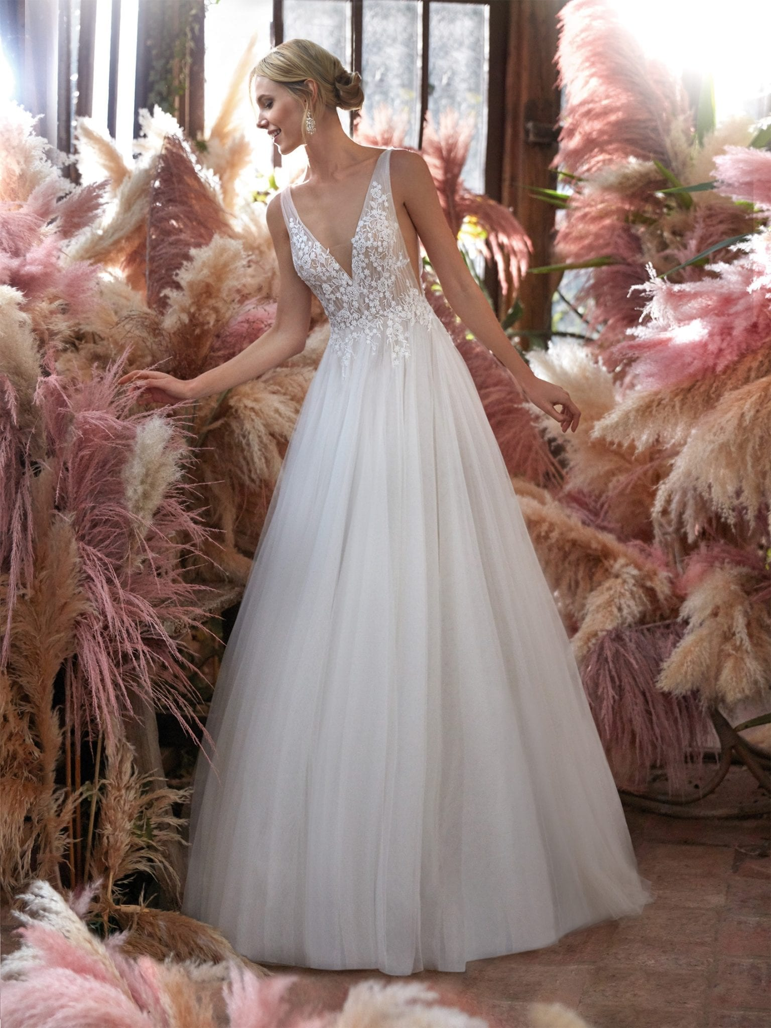 Nicole Spose CO12184 Soft Tulle Wedding Dress with Romantic Lace Bodice