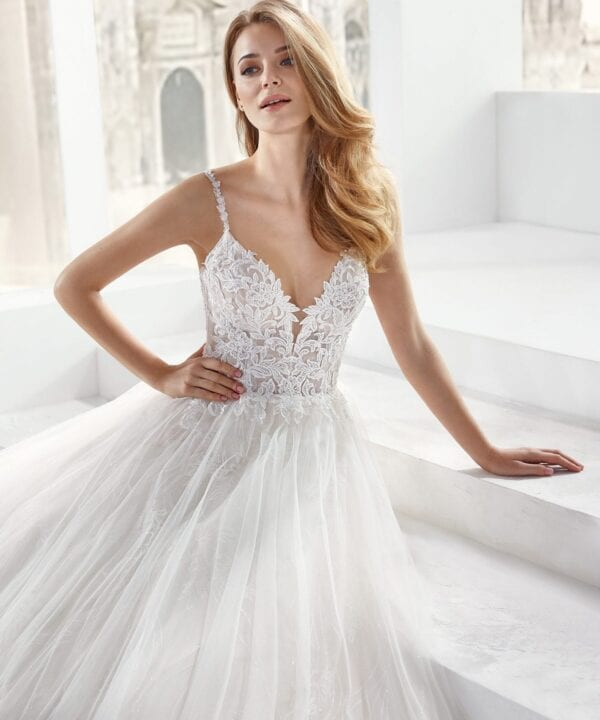 Nicole Spose JO12158 Blake Tulle Wedding Dress with Lace Bodice