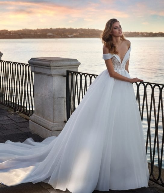 Nicole Spose NC12136 Elegant Organza Ballgown with Folded Off the Shoulder Neckline