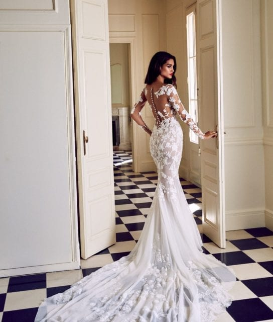 Rocio by Pronovias Atelier Long Sleeved Sexy Sheer Mermaid Wedding Couture Wedding Gown