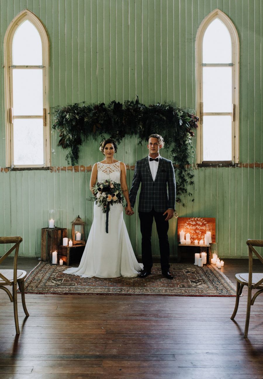 vintage church wedding with mint green interior